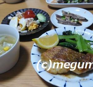 たらのバター醤油ムニエル&カツオのタタキ&コブサラダの夕食