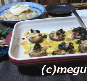海老レタス炒飯としいたけの生ハム載せ焼き&炊飯器でチャーシュー