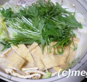 簡単にミツカン鍋「〆まで美味しいごま豆乳鍋つゆ」のお鍋です。〆のパスタが美味しかった(^O^)/
