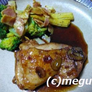 鶏もも肉のバルサミコソース&トマトと牛肉のオイスターソース炒めごはん