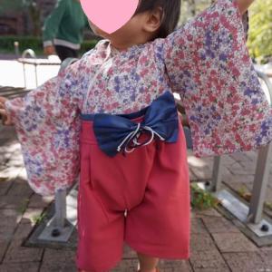 1歳の誕生日に贈った袴ロンパースを着た写真が届きました