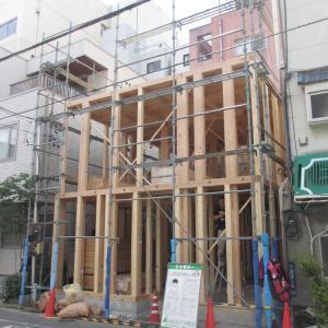 台東区西浅草木造4階建耐火建築物ホテルプロジェクト 建て方開始