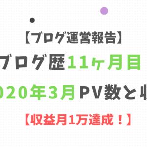 【ブログ運営報告】ブログ歴11ヶ月目!2020年3月PV数と収益【収益1万達成!】