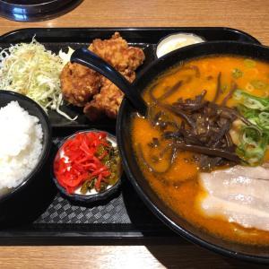太麺味噌とんこつラーメン・唐揚げセット 博多天神大垣本店
