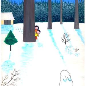 昭和っぽい情景の絵  「絵・冬のウサギ」何処までも劣化する日本と言う国