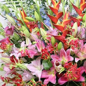 ヘリコニアとグロリオサの赤・ピンクスタンド花