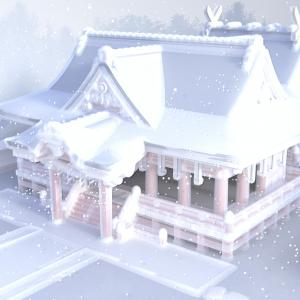 <CG>「雪の神社」 ~コロナ禍で元朝参りの形態が変わったこの新年~