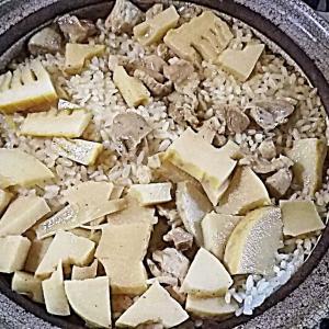 タケノコごはん、タケノコと鶏モモ肉の炊き合わせ、あさり味噌汁