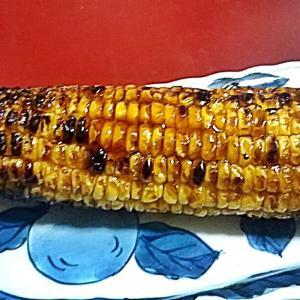 トウモロコシの甘辛しょうゆ焼きと夏野菜で一献