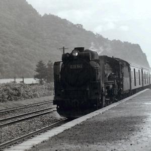 昭和48年蒸気機関車D51941 雨降りのホームで撮影しました