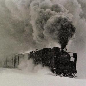 昭和49年蒸気機関車C5757 吹雪の中爆炎を上げて行く