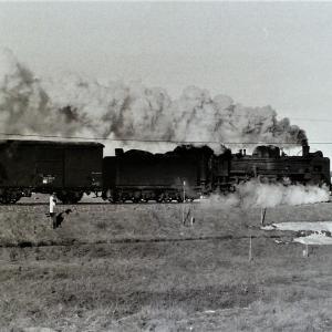 昭和49年蒸気機関車C58 機関車と貨物を真横から撮影