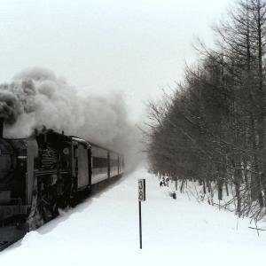 昭和48年蒸気機関車C5787 塩狩~和寒間で防風林を入れて
