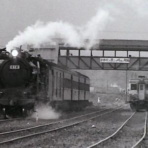昭和48年蒸気機関車C623 俱知安駅でディーゼルカーと