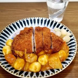☆カロリー爆裂☆給食のエッグカレーで☆カツカレー☆