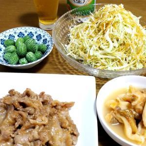 ご飯がすすむ☆ビールがすすむ☆豚肉の玉ねぎソース☆無限キャベツ☆マイクロきゅうり☆