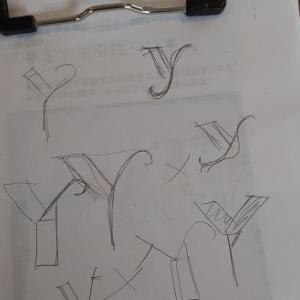アルファベットを土台布に~( ..)φカキカキ