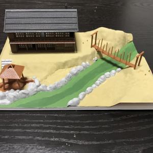 山の温泉宿 ジオラマの製作5