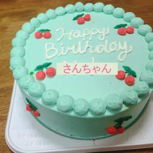 さんちゃんのバースデーケーキはミントグリーン色