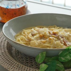 白菜とクリームコーンのスープパスタ