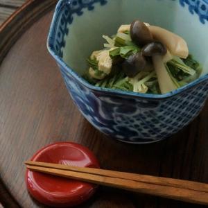 水菜としめじの煮浸しと鎌倉名物よもぎ力餅