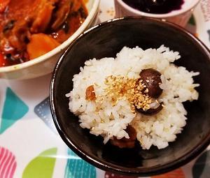 節約料理。むき栗で栗ご飯の作り方。