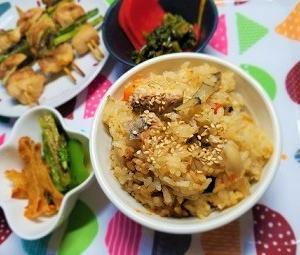 花粉症対策レシピ。甜茶と鯖缶のピリ辛味噌炊き込みご飯の作り方。