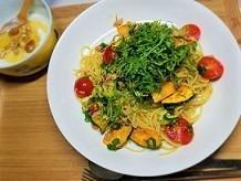 花粉症に効くレシピ。ツナ缶で簡単!ツナとカボチャとトマトのペペロンチーノの作り方。