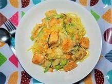 ストレス対策レシピ。セロトニンを増やす、鮭と豆乳の和風クリームパスタの作り方。