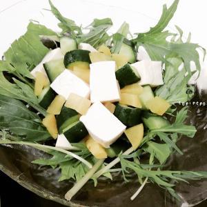 食感が楽しい♪「胡瓜と沢庵のコロコロ豆腐サラダ」