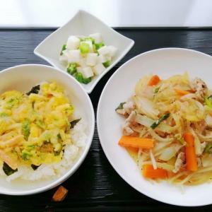 海鮮かき揚げ丼&塩野菜炒めと今はシールなのね