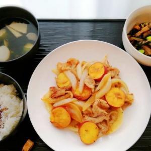 豚とさつま芋炒め&ひじき煮と少しだけ見てる。