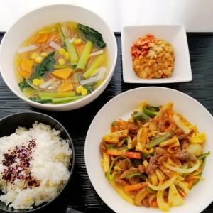青椒牛(にぅ)肉絲&春雨中華スープと長持ちの訳
