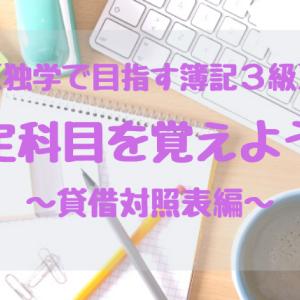 【独学で目指す簿記3級】勘定科目を覚えよう!~貸借対照表編