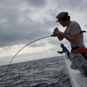 湾内ジギングでカンパチ、真鯛 鹿児島 錦江湾 海晴丸