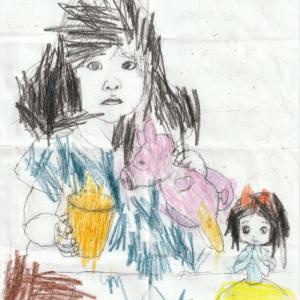 3歳0カ月の孫娘の描いた塗り絵