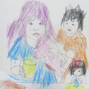 3歳1カ月の孫娘の描いた塗り絵