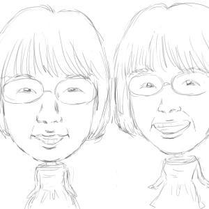 阿佐ヶ谷姉妹の似顔絵下書き。