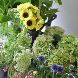 明日、明後日の季節のお花のブーケレッスン花材