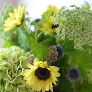 ヒマワリとアジサイを使った季節のお花のブーケレッスン終わりました