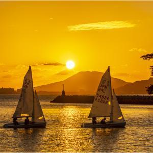 ~ヨットと夕日~