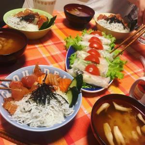 生春巻きと海鮮丼