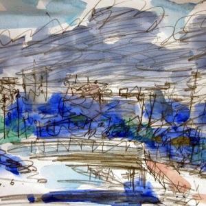 梅雨空の境川