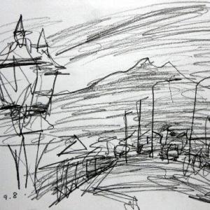 山居倉庫から鳥海山をのぞむ