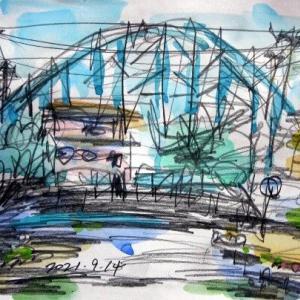 境川西水門とメトロ鉄橋