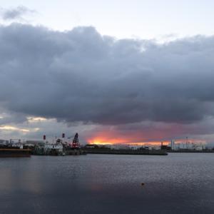 鳴尾浜貯木場の朝陽
