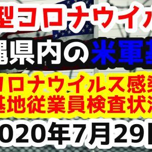 【2020年7月29日】沖縄県内の米軍基地内における新型コロナウイルス感染状況と基地従業員検査状況