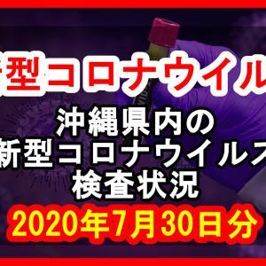 【2020年7月30日分】沖縄県内で実施されている新型コロナウイルスの検査状況について