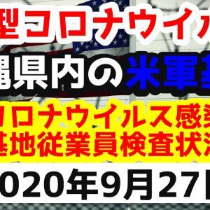 【2020年9月27日】沖縄県内の米軍基地内における新型コロナウイルス感染状況と基地従業員検査状況