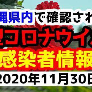 【32人感染】2020年11月30日月曜日に発表された沖縄県内で確認された新型コロナウイルス感染者情報一覧